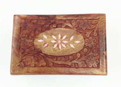 "Carved Wood Box - Flowery Inlay 6"" x 4"" x 2.25"""