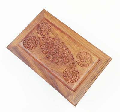"Carved Wood Box - Flowery Inlay 8"" x 5"" x 2.5"""