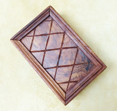 "Carved Wood Box - Cross Hatch 6""x 4""x 2.5"""
