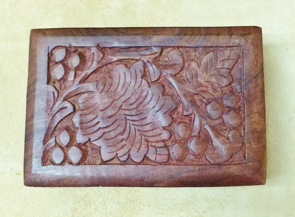 "Carved Wood Box - Orchard 8""x 5""x 2.25"""
