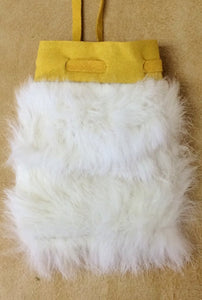 "Rabbit Fur, White - Medicine Bag, 5"" x 4"""