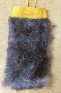 Rabbit Fur, Brown - Medicine Bag, 5""