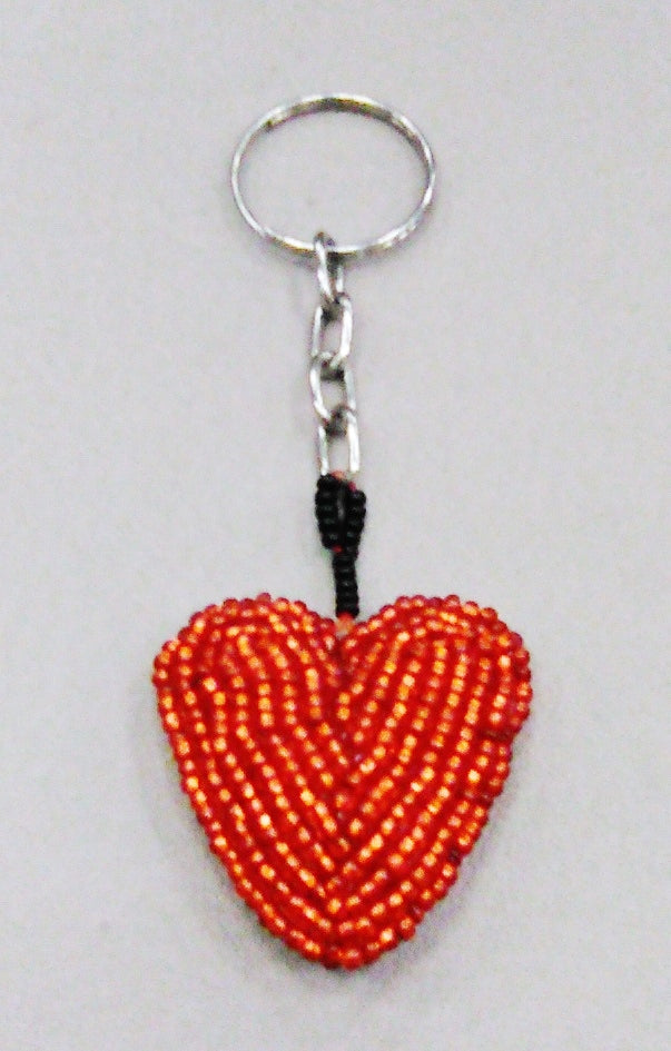 Beaded Red Heart Key Chain