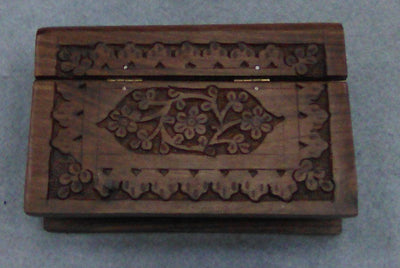 "Carved Wood Box - Flowers Book, 6""x 4""x 2"""