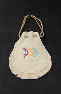 "Embroidered Medicine Bag  - Beige 6""x 4.5"""