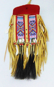 Beaded Buckskin Belt Bag, Red & Blue