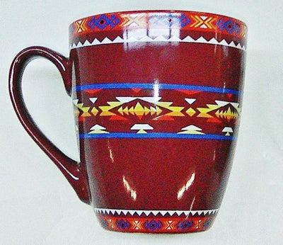 Ceramic Mug Southwest Design #2 - Burgundy