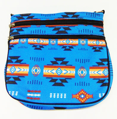 Crossbody Fleece Purse, 2 Zippered Front - Turquoise