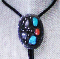 Antique Turquoise Coral Bolo Tie