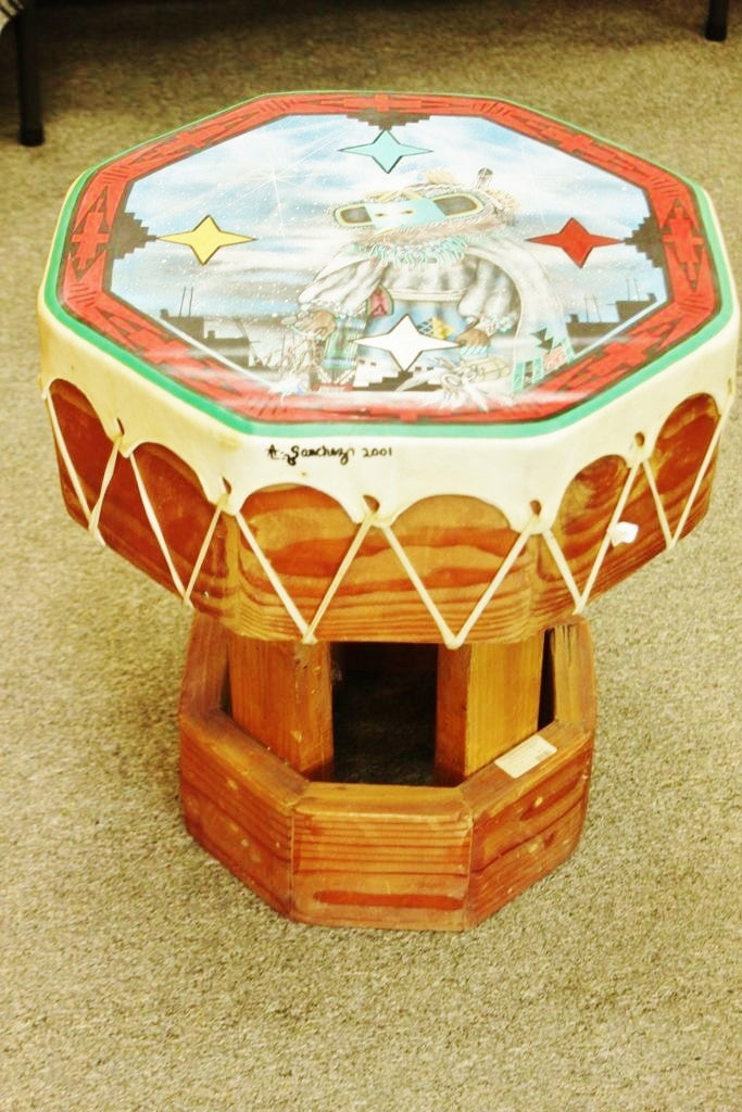 Table Drum, Large Zuni Painted