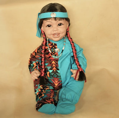 "Navajo Boy Doll 20"" - Turquoise/Pattern"