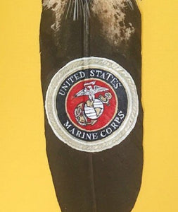 Hand Painted Marine Emblem On Faux Eagle Feather