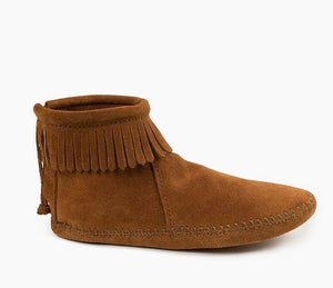 Back Zip Fringed Soft Sole - Brown