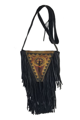 Purse - Painted, Black w/fringe