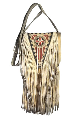 Purse - Painted, Cream w/fringe