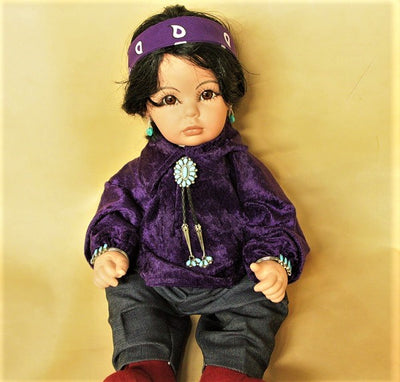 "Navajo Boy Doll 20"" - Purple velvet"