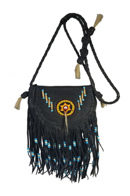 Purse - Beaded Rossette, Black