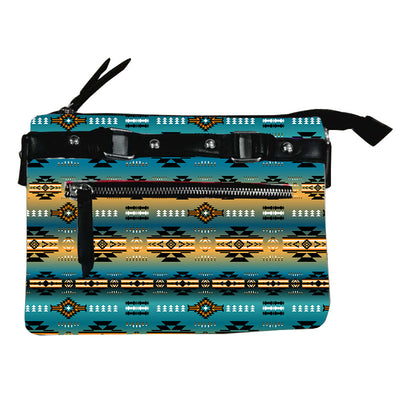 Fleece Printed Gradient Purse W/Front & Back Zipper - Teal Power