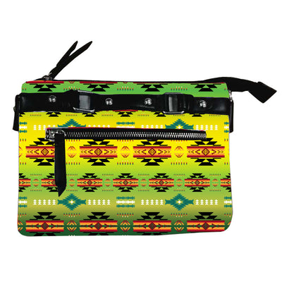 Fleece Printed Gradient Purse W/Front & Back Zipper - Green Lizard