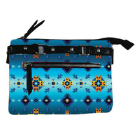 Fleece Printed Gradient Purse W/Front & Back Zipper - Diamond Azure