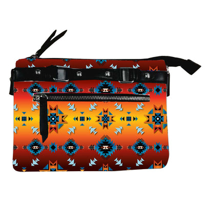 Fleece Printed Gradient Purse W/Front & Back Zipper - Diamond Glow