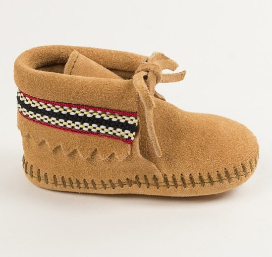 Infant Suede Braided Cuff Softsole - Tan