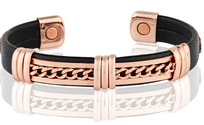 "Leather Covered Copper 1/2"" Copper Magnetic Bracelet"