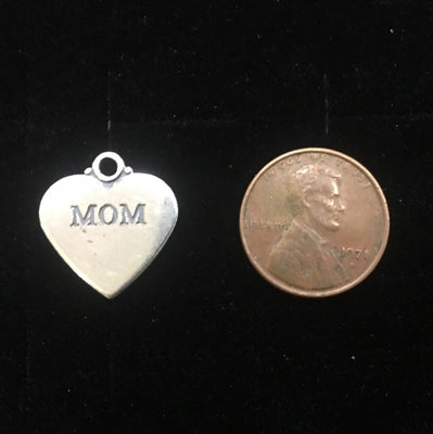 Sterling Silver Mom Heart Charm