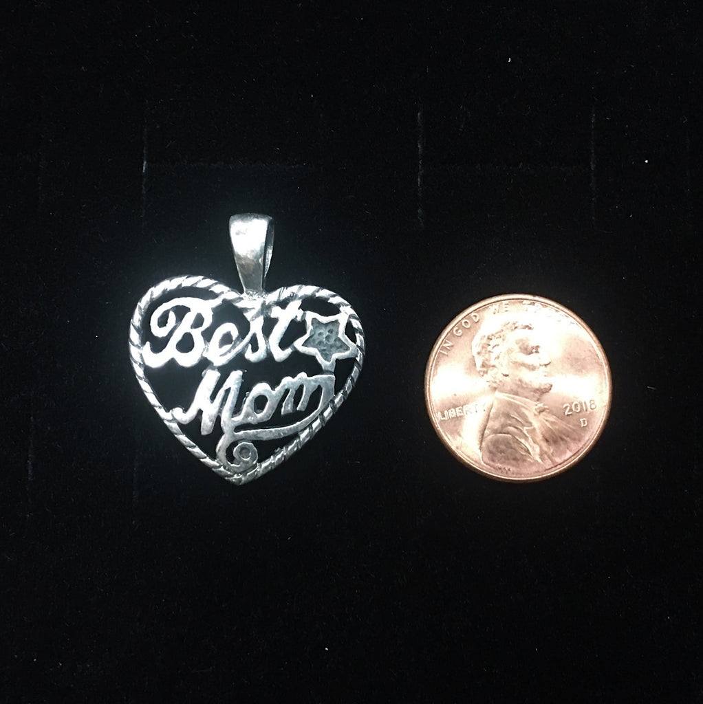 Sterling Silver Best Mom Heart Pendant