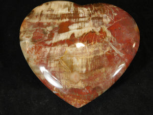 Gemstone Puffy Heart - Petrified Wood, Small