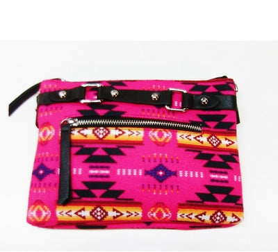 Fleece Printed Purse W/Front & Back Zipper - Pink