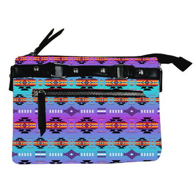 Fleece Printed Gradient Purse W/Front & Back Zipper - Purple Mint