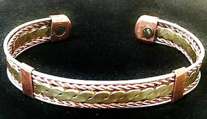 "#3 Tri-Tone Copper 1/2"" Magnetic Bracelet"