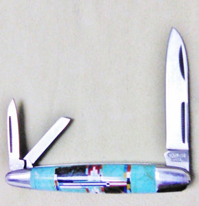 "Inlay Pocket Knife, 4""- 3 Blade"