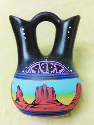 "Navajo Wedding Vase 8"" Painted"