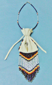 Medicine Bag - White, Beaded w/fringe 4""
