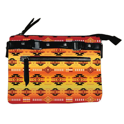 Fleece Printed Gradient Purse W/Front & Back Zipper - Fire