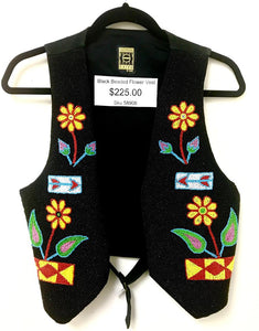 Gammon Shire 1993 Black Beaded Flower Vest