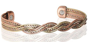"#2 Tri-Tone Copper 1/2"" Magnetic Bracelet"