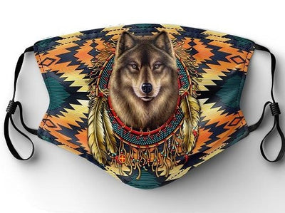 Native Print Face Mask - Wolf Head