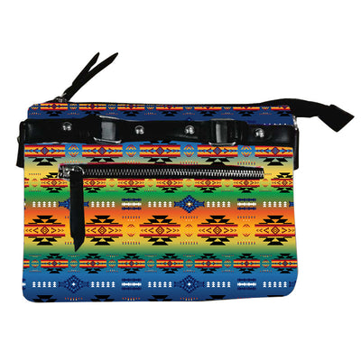 Fleece Printed Gradient Purse W/Front & Back Zipper - Zarape
