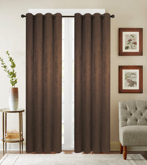 This is a blackout panel with Eight (8)-top grommets in solid chocolate.  Backing is in solid shinny same front color.