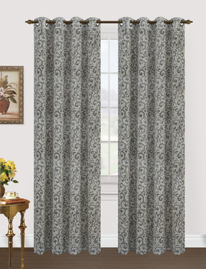 "Clara: Silver flock jacquard design over white background in this blackout panel. 8-top grommets. 52"" Width x 84"" Length"