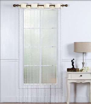 Stephanie: Editex Modern Curtain with Beautiful Falling Translucent Beads from top.  Eight (8)-Top Grommets. Top Seam colored.