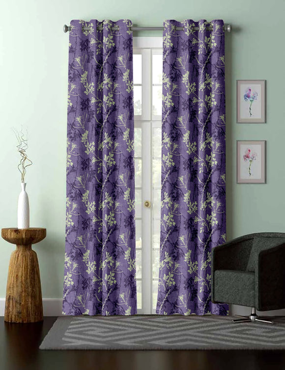 Waterlily: This is ice crush printed flower curtain with 8-top grommets. Purple background. Flowers printed in beige and darker purple.