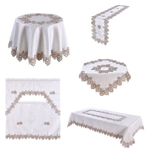 This image shows: Beautiful collage of embroidered tableware. Round Table Cloth, Runner, 3pc Kitchen curtain, Square & long table cloth. White background with beige embroidered.