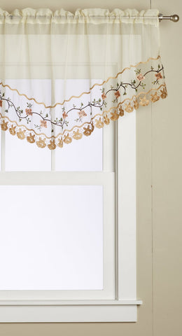 Rose Garden Embroidered Macrame Organza M-Valances ^8