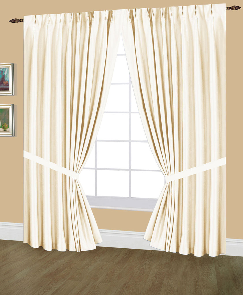 Elaine Faux Silk Pinch Pleated Lined Drapes Triple Width with Tie Backs & Hooks, available in 3 sizes (144x63, 144x84, 144x95) and in 24 colors.