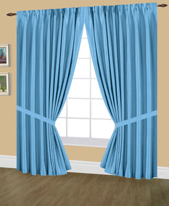 Elaine Pinch Pleated Lined Drapes Double Width with Tie Backs & Hooks. Available in 3 sizes (96x63 , 96x84 , 96x95) and in 24 colors.