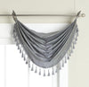 Elaine Faux Silk Grommeted Waterfall Valance with Fringes 36x37